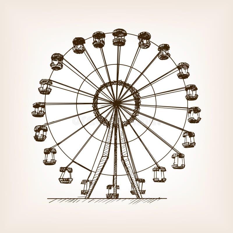 Illustrazione di vettore di stile di schizzo della ruota panoramica royalty illustrazione gratis