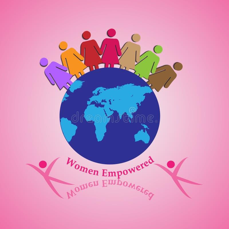 Illustrazione di vettore di tenere insieme delle donne, concetto di lavoro di squadra, unità, direzione e coraggio illustrazione di stock