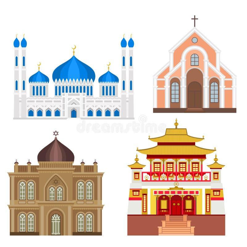 Illustrazione di vettore di turismo del punto di riferimento della costruzione tradizionale del tempio della chiesa della cattedr royalty illustrazione gratis