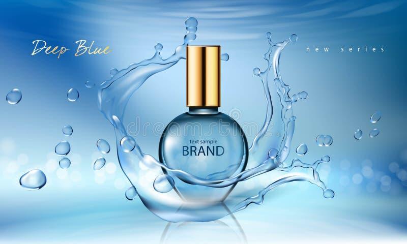 Illustrazione di vettore di un profumo realistico di stile in una bottiglia di vetro su un fondo blu con la spruzzata dell'acqua