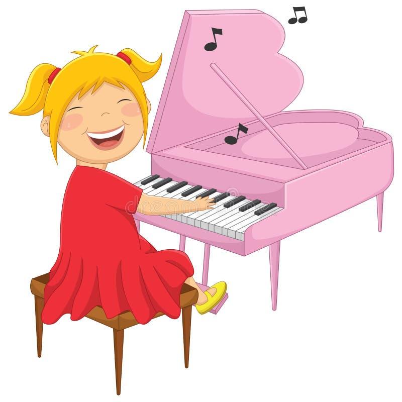 Illustrazione di vettore di una bambina che gioca piano illustrazione di stock