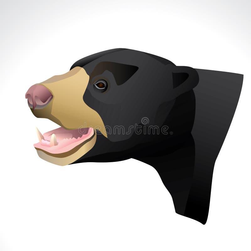 Illustrazione di vettore di una testa dell'orso malese fotografia stock libera da diritti