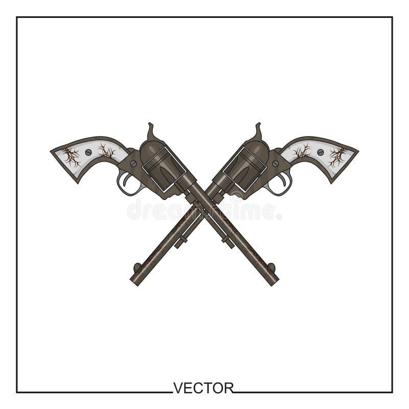 Illustrazione di vettore di vecchi revolver illustrazione vettoriale