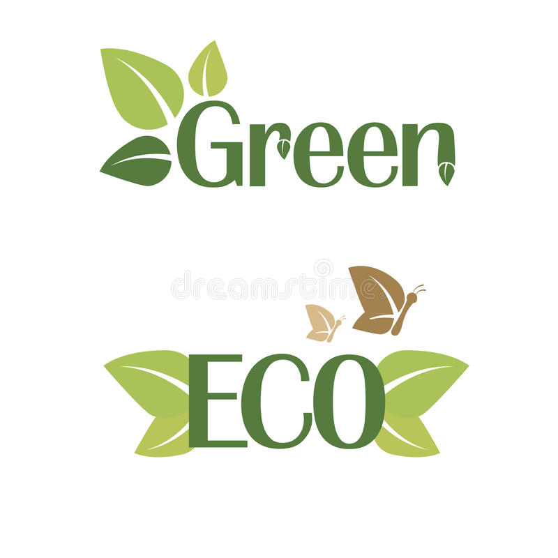 Illustrazione di vettore di verde e dell'autoadesivo di ECO fotografia stock libera da diritti
