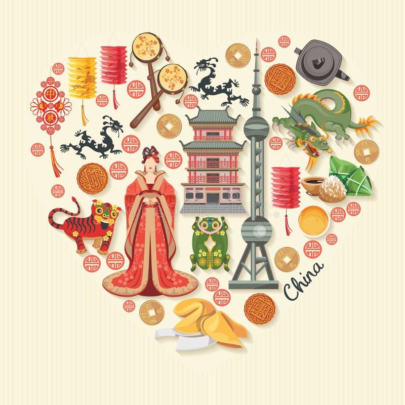 Illustrazione di vettore di viaggio della Cina Il cinese ha messo con l'architettura, alimento, costumi, simboli tradizionali nel royalty illustrazione gratis