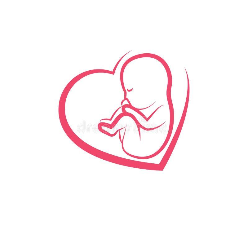 Illustrazione di vettore disegnata neonato isolata su bianco Innoce illustrazione vettoriale