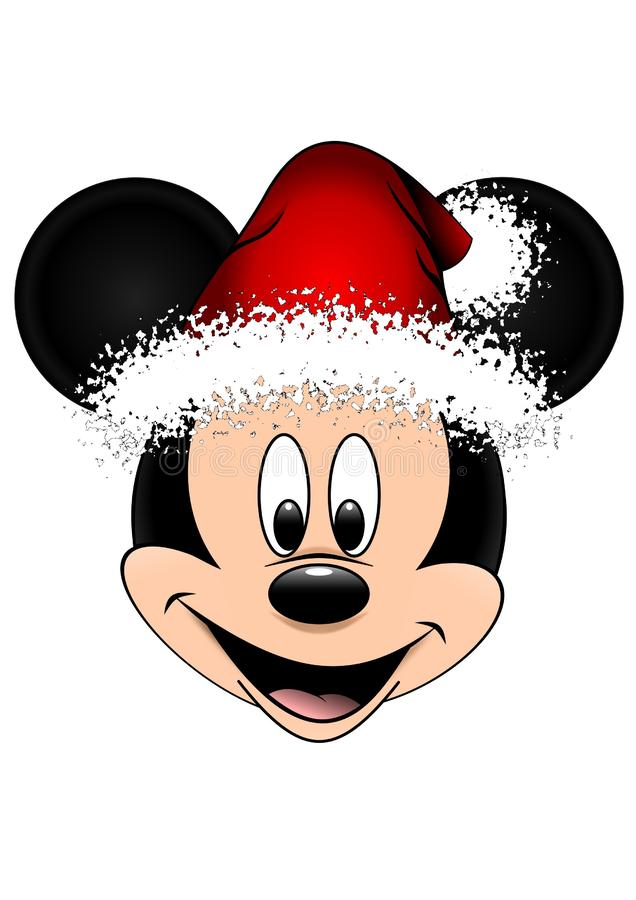 Illustrazione di vettore di Disney di Mickey Mouse con il cappello rosso di Natale, isolata su fondo bianco illustrazione vettoriale