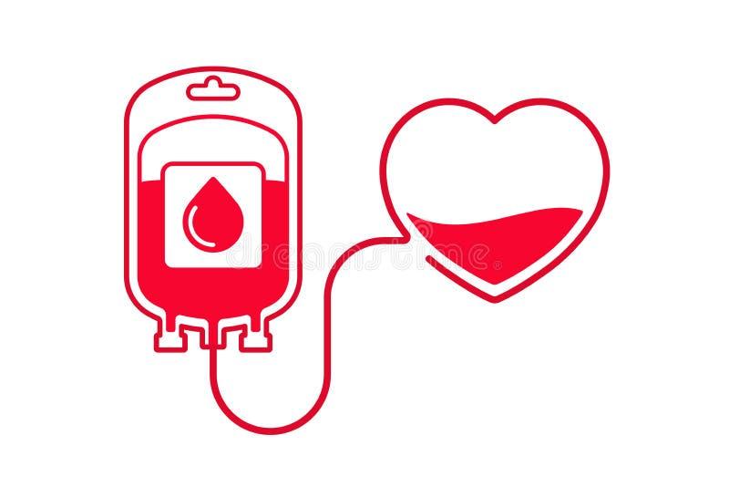 Illustrazione di vettore di donazione di sangue Doni il concetto del sangue con la borsa ed il cuore del sangue Giorno del donato illustrazione vettoriale