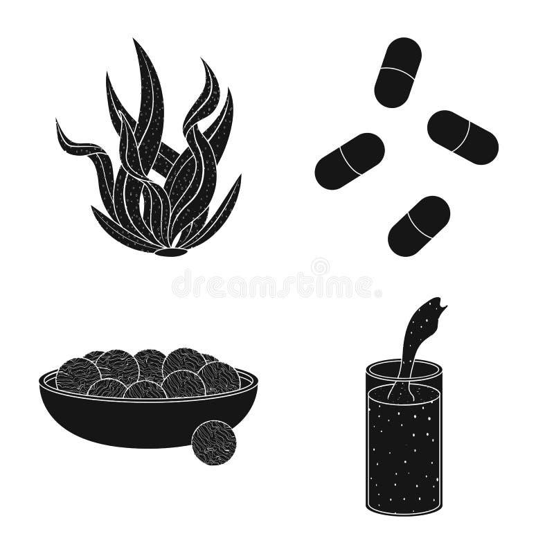 Illustrazione di vettore di erba e del logo naturale Metta dell'illustrazione di riserva di vettore dell'alga e dell'erba illustrazione di stock