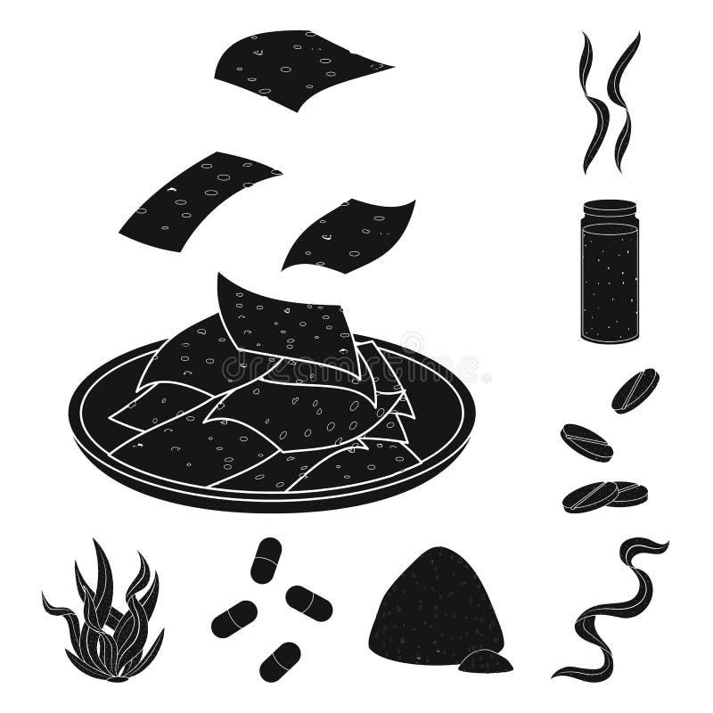 Illustrazione di vettore di erba e del simbolo naturale Metta dell'icona di vettore dell'alga e dell'erba per le azione illustrazione di stock