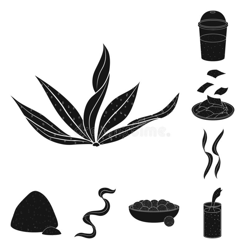 Illustrazione di vettore di erba e dell'icona naturale Metta dell'icona di vettore dell'alga e dell'erba per le azione illustrazione di stock