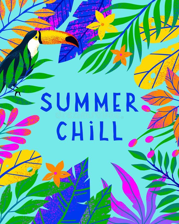 Illustrazione di vettore di estate con le foglie, i fiori ed il tucano tropicali luminosi illustrazione vettoriale