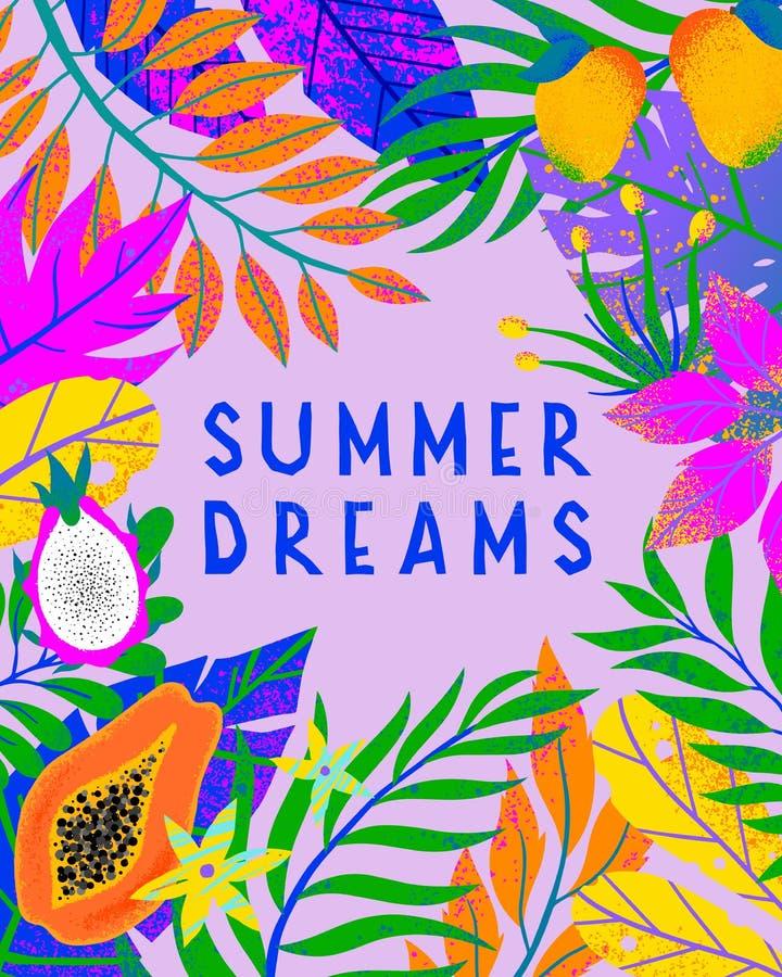 Illustrazione di vettore di estate con le foglie tropicali luminose, i frutti esotici ed i fiori illustrazione vettoriale
