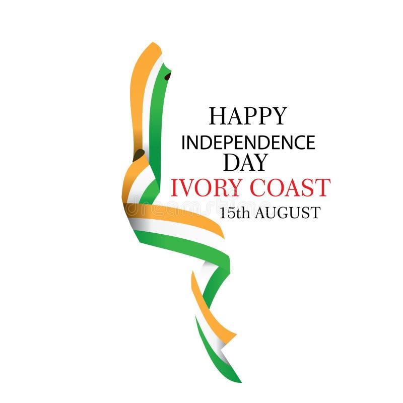 Illustrazione di vettore di festa dell'indipendenza di Costa d'Avorio con la bandiera e gli elementi patriottici Concetto di libe royalty illustrazione gratis