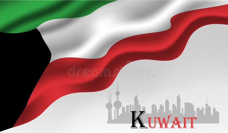 Illustrazione di vettore di festa nazionale del Kuwait illustrazione di stock