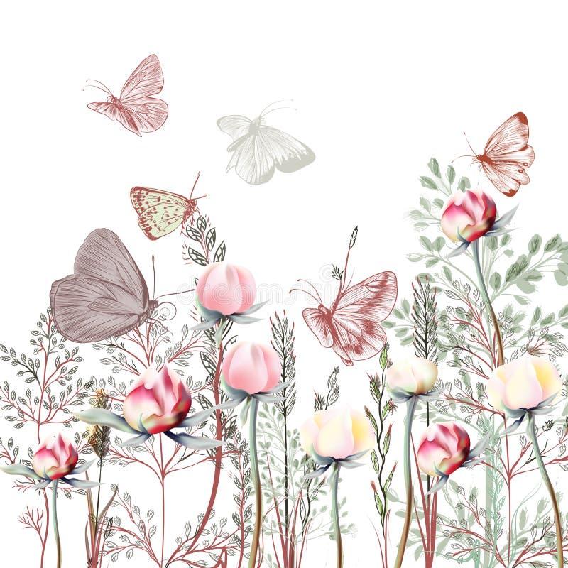 Illustrazione di vettore di 19 fiori con le piante Provance d'annata royalty illustrazione gratis