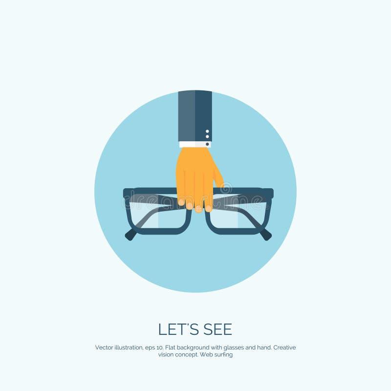 Illustrazione di vettore Fondo piano con i vetri Lets vede Cura dell'occhio, protezione royalty illustrazione gratis