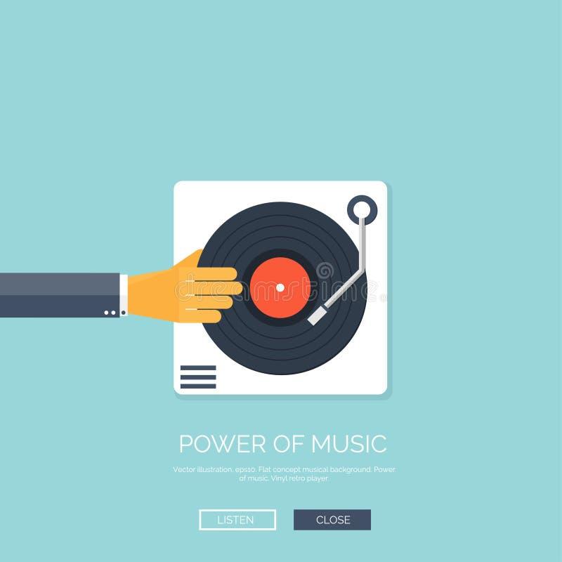 Illustrazione di vettore Fondo piano con la mano ed il retro grammofono Musica e vinile illustrazione di stock