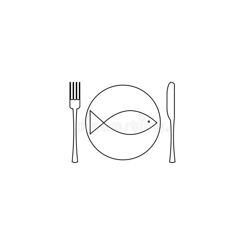 Illustrazione di vettore forcella, coltello e piatto con la linea icona del pesce su fondo bianco Icona del menu del ristorante illustrazione di stock