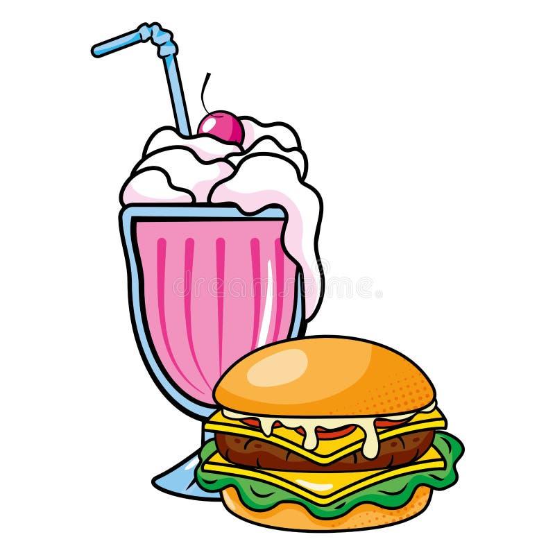 Illustrazione di vettore di frapp? e dell'hamburger illustrazione di stock