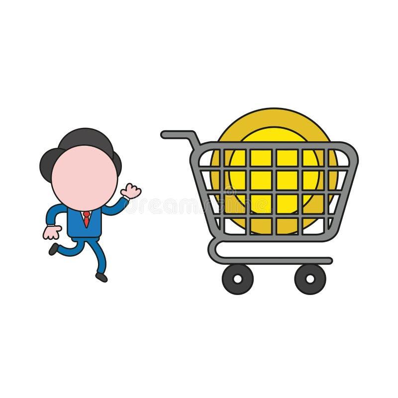Illustrazione di vettore di funzionamento del carattere dell'uomo d'affari alla moneta del dollaro dentro il carrello Colore e pr illustrazione di stock
