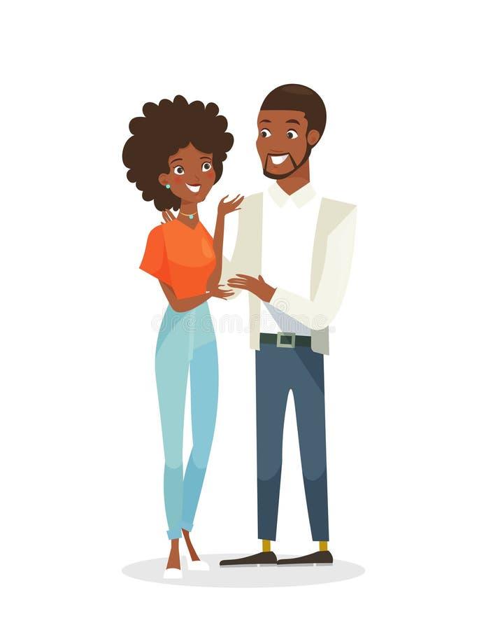 Illustrazione di vettore di giovane donna graziosa nera e dell'uomo bello che stanno insieme Gente felice nell'amore, africano royalty illustrazione gratis