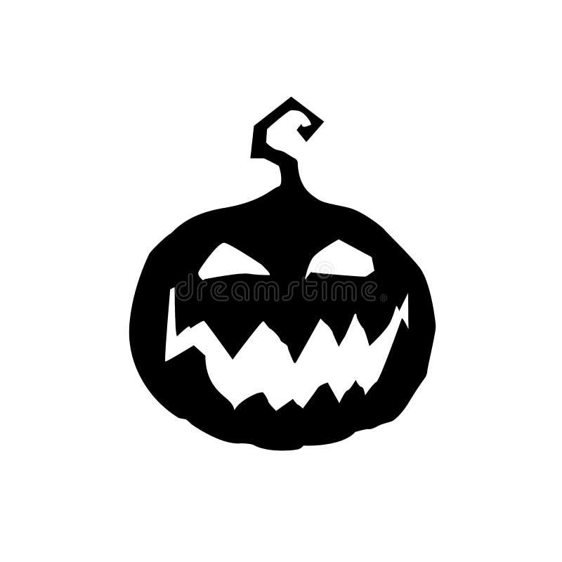 Illustrazione di vettore di Halloween del nero spaventoso del fronte della presa della zucca illustrazione di stock