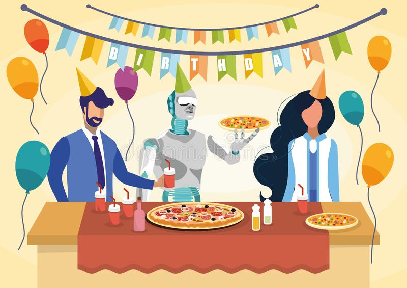 Illustrazione di vettore di Holding Pizza Flat del cuoco del robot illustrazione di stock