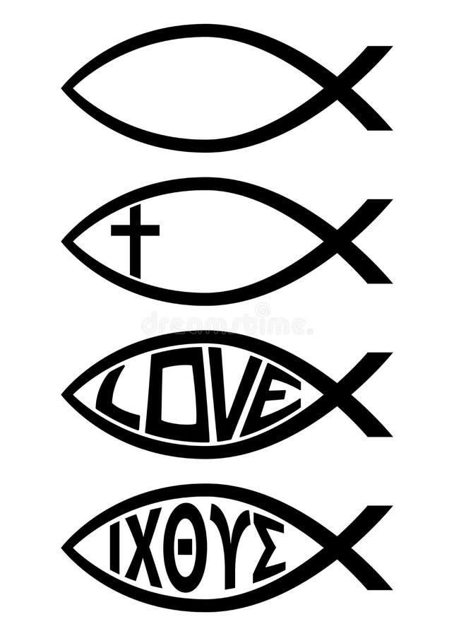 Illustrazione di vettore di Ichthus Christian Fish Symbol Religious Icon royalty illustrazione gratis
