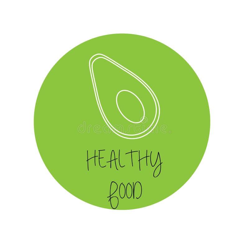 Illustrazione di vettore Icona dell'avocado con testo insegna sana dell'alimento, manifesto, insegna riga royalty illustrazione gratis