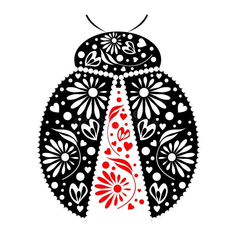 Illustrazione di vettore Icona della coccinella nera ornamentale decorativa, sopra fondo bianco illustrazione vettoriale