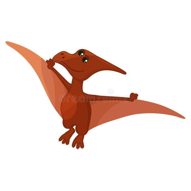 Illustrazione di vettore Icona piana semplice di stile di Pteranodon Pittogramma di pterosaur per la stampa sulla maglietta o sul illustrazione vettoriale