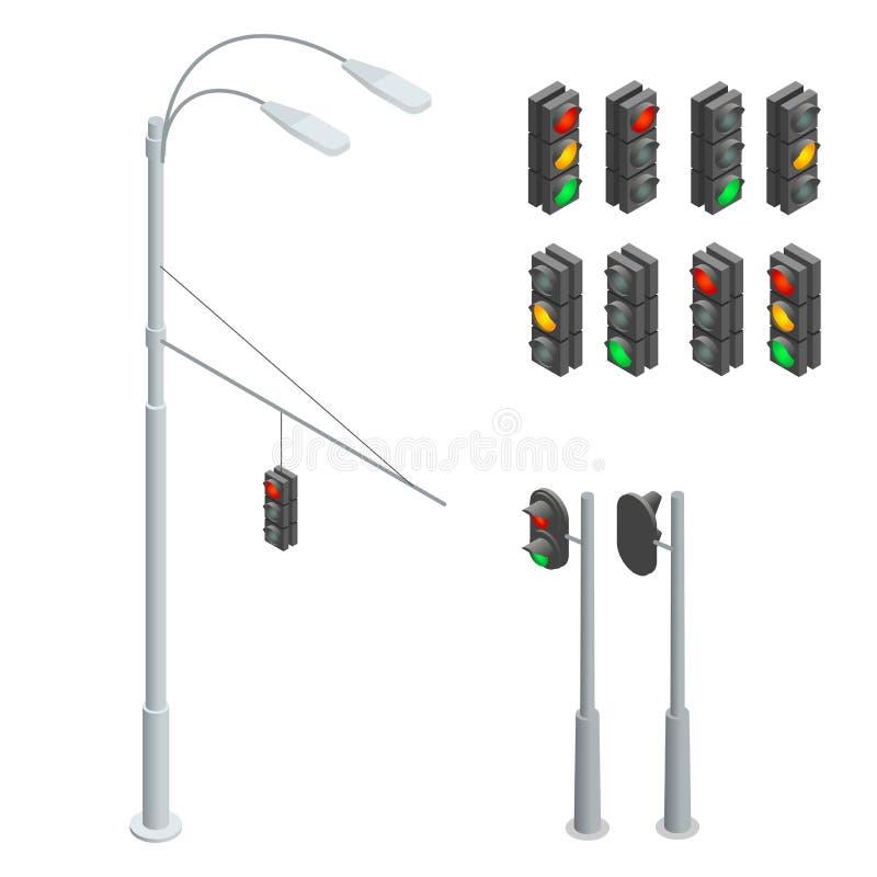 Illustrazione di vettore Icone del semaforo messe Illustrazione piana isometrica del semaforo 3d Elementi ENV del semaforo piano royalty illustrazione gratis