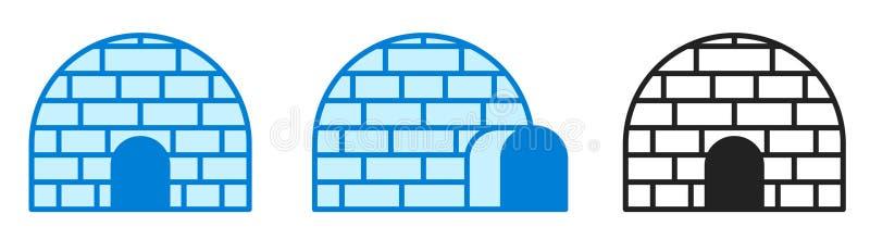 Illustrazione di vettore Iglù della ghiacciaia Insieme dell'icona Progettazione semplice di vettore Segno o simbolo dell'iglù nel illustrazione di stock
