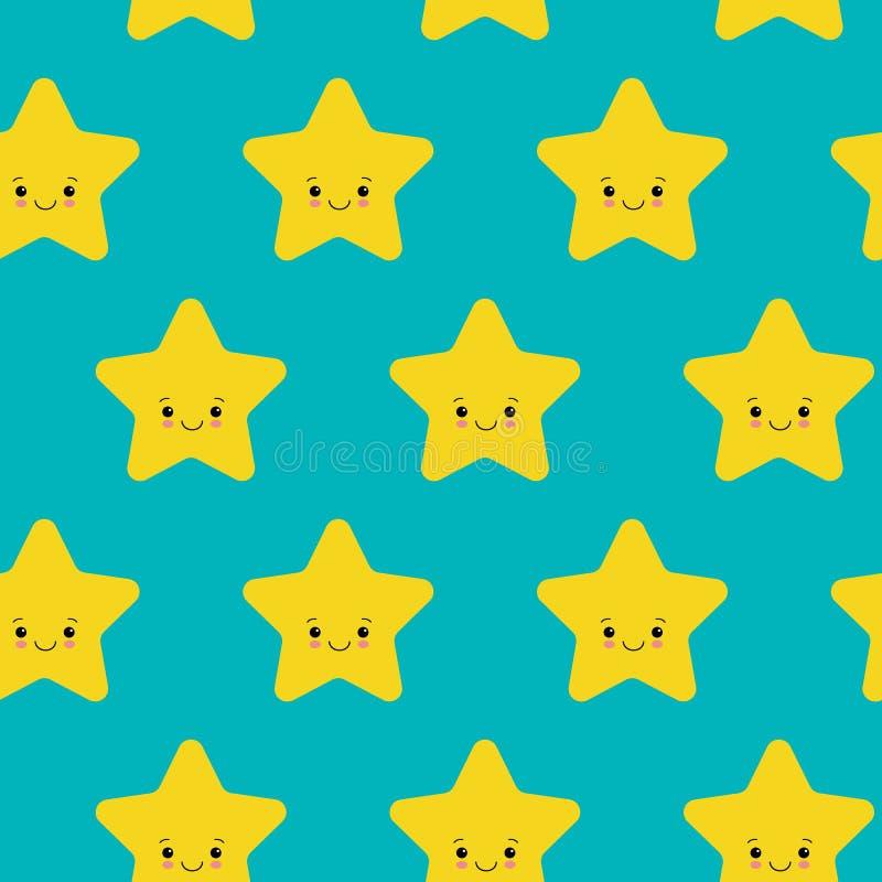 Illustrazione di vettore Il modello senza cuciture con giallo sveglio di caduta stars il fondo bianco Simbolo di tempo royalty illustrazione gratis