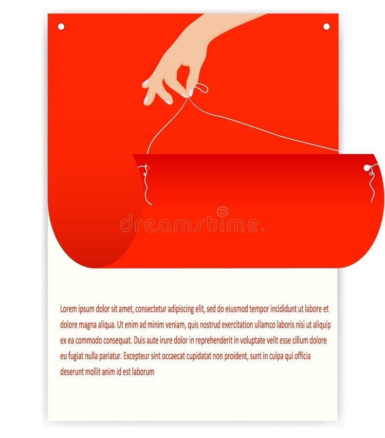 Illustrazione di vettore, immagine del manifesto di pubblicità luminoso su un fondo bianco illustrazione di stock