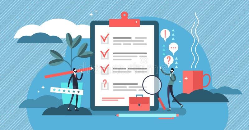 Illustrazione di vettore di indagine Mini concetto piano delle persone con la prova ed il rapporto illustrazione vettoriale