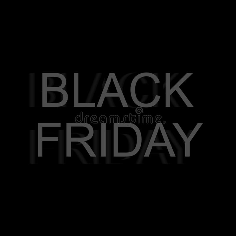 Illustrazione di vettore Insegna minimalistic repressa da vendere sulla vendita di Black Friday Insegna per i negozi, web di vett royalty illustrazione gratis