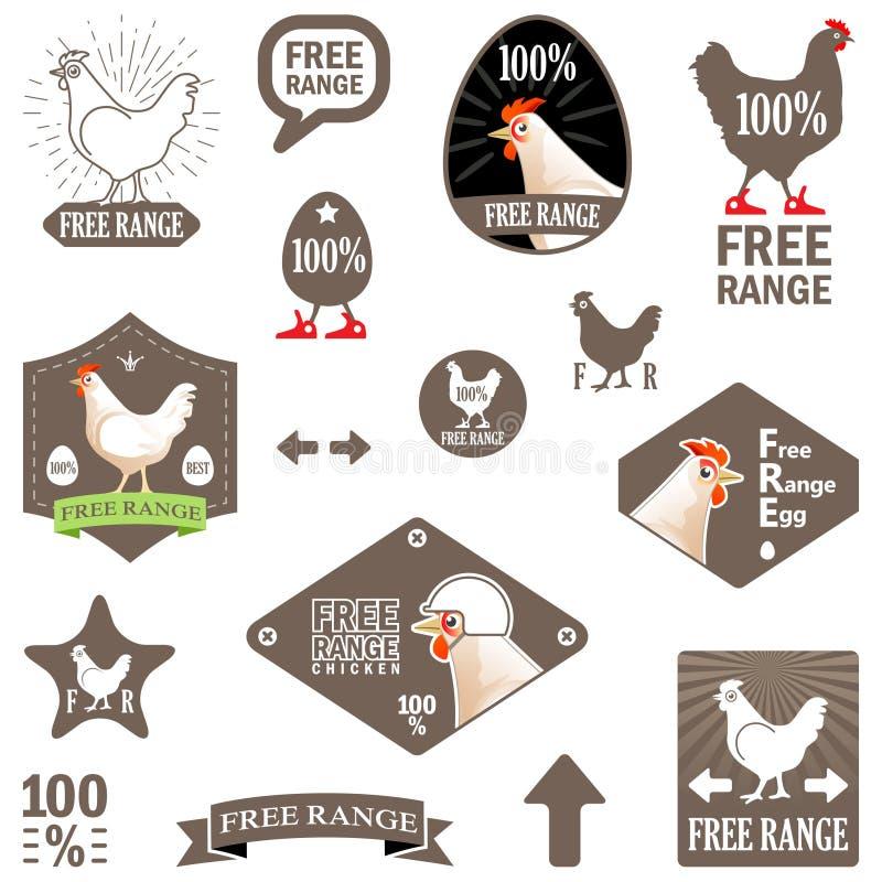 Illustrazione di vettore Insieme delle etichette di vettore: Pollo libero della gamma royalty illustrazione gratis