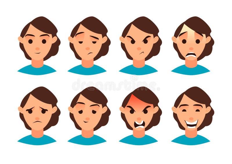 Illustrazione di vettore Insieme di emozione delle donne Metta per la vostra progettazione Icona piana Personaggio dei cartoni an fotografie stock