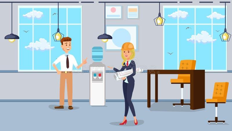 Illustrazione di vettore di interior design dell'ufficio del lavoratore illustrazione di stock