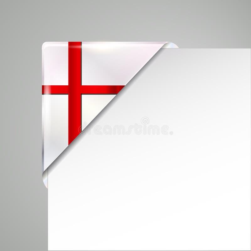 Illustrazione di vettore isolata angolo metallico della bandiera dell'Inghilterra illustrazione di stock