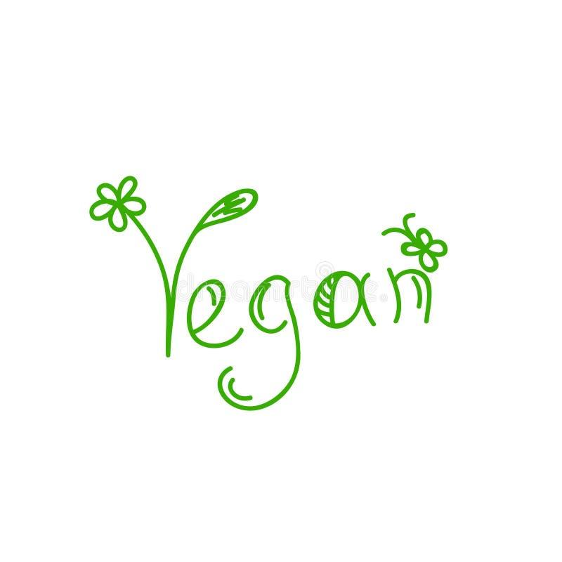 Illustrazione di vettore isolata calligpaphy disegnato a mano del vegano logo dell'iscrizione per il menu vegetariano del ristora royalty illustrazione gratis