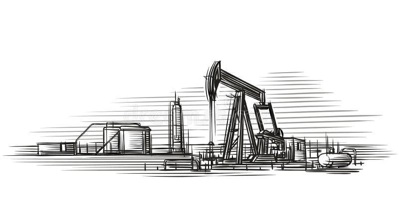 Illustrazione di vettore isolata estrazione dell'olio illustrazione vettoriale