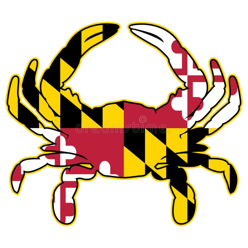 Illustrazione di vettore isolata granchio della bandiera di Maryland royalty illustrazione gratis