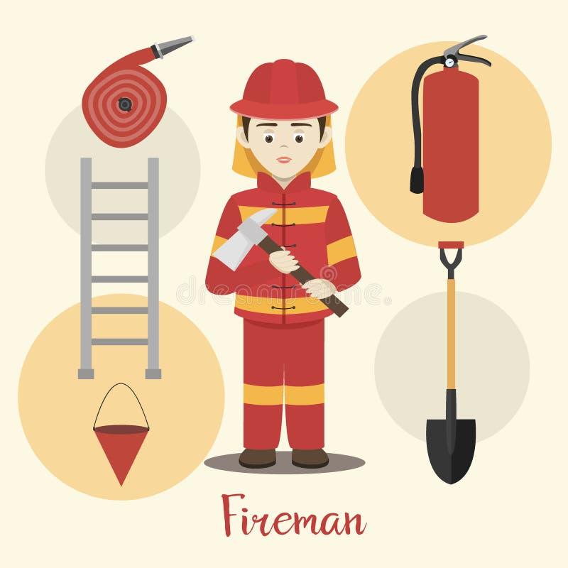 Illustrazione di vettore isolata vigile del fuoco illustrazione di stock