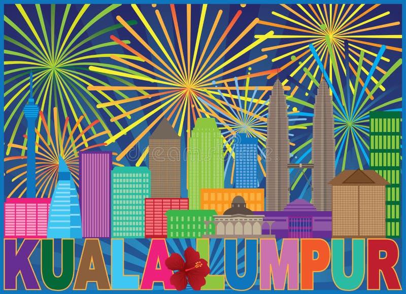 Illustrazione di vettore di Kuala Lumpur Malaysia Skyline Fireworks illustrazione vettoriale