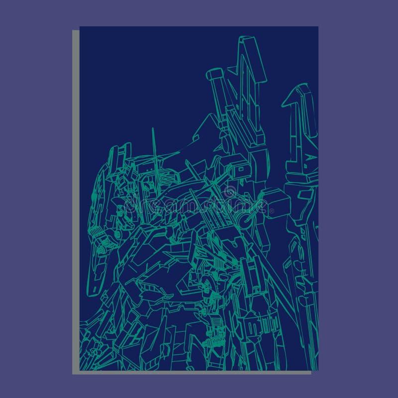 Illustrazione di vettore la geometria sacra del robot Per progettazione della maglietta, manifesto, autoadesivo linea stile - L'a royalty illustrazione gratis
