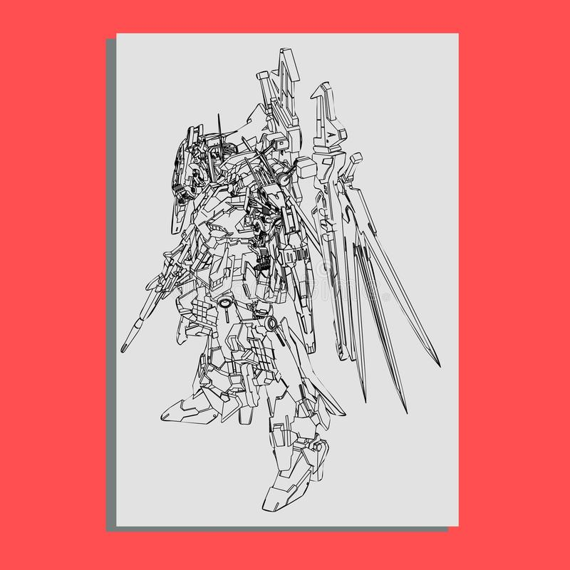 Illustrazione di vettore la geometria sacra del robot Per progettazione della maglietta, manifesto, autoadesivo linea stile - L'a illustrazione vettoriale