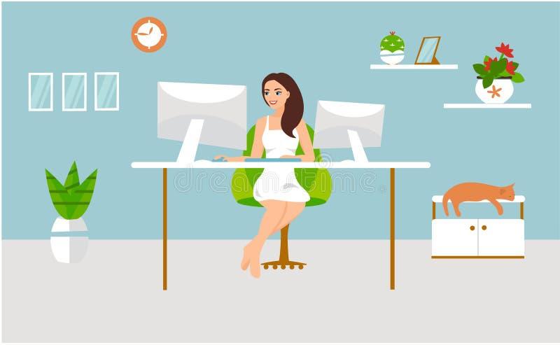Illustrazione di vettore di lavoro indipendente La ragazza lavora al computer e si siede alla tavola con un gatto nella sua casa illustrazione di stock
